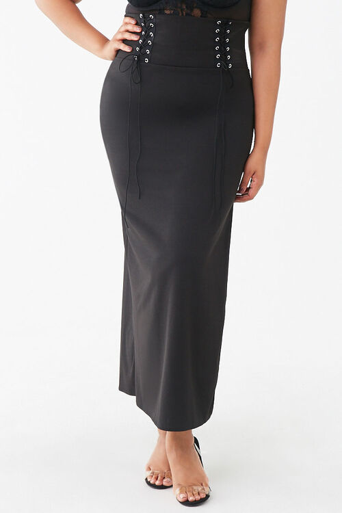 Plus Size Lace-Up Maxi Skirt, image 2