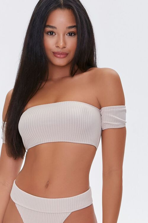 Ribbed Off-the-Shoulder Bikini Top, image 1