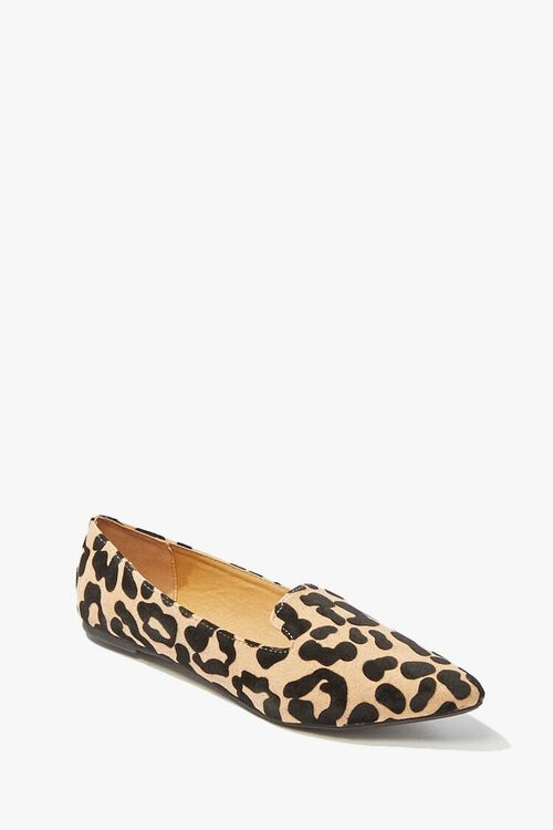TAN/BLACK Qupid Leopard Print Loafers, image 1