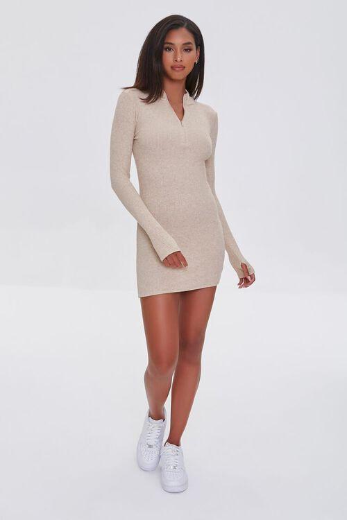TAUPE Heathered Ribbed Knit Mini Dress, image 4