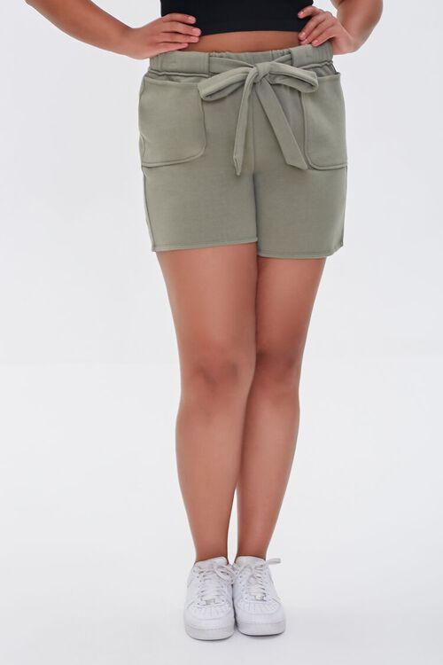 Plus Size Fleece Tie-Waist Shorts, image 2
