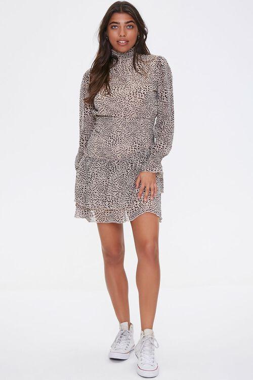 Cheetah Layered-Hem Mini Dress, image 4