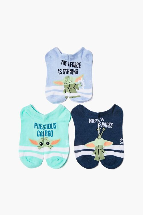 Baby Yoda Graphic Ankle Socks - 3 Pack, image 1
