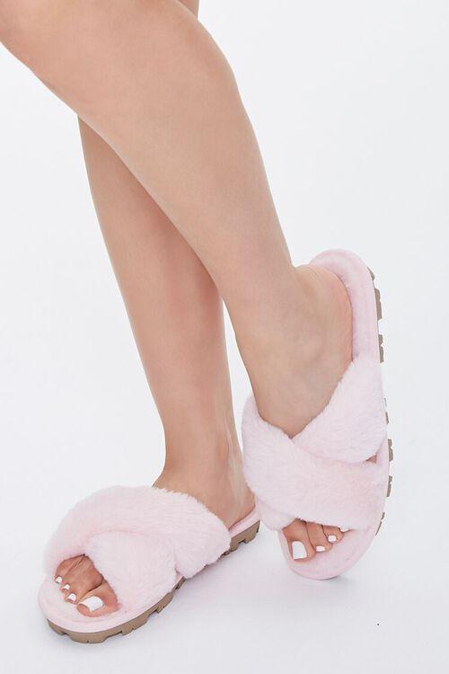 Plush Crisscross Slippers, image 1