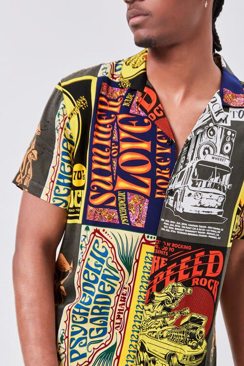 Retro Rock Patchwork Fitted Shirt, image 5