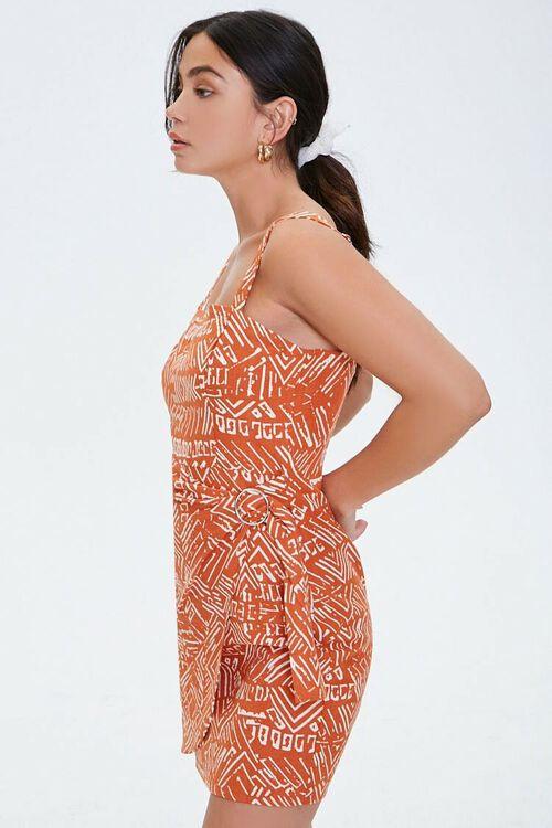 RUST/CREAM Geo Print Faux Wrap Dress, image 2
