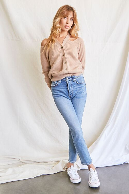 TAUPE Open-Shoulder Buttoned Sweater, image 4