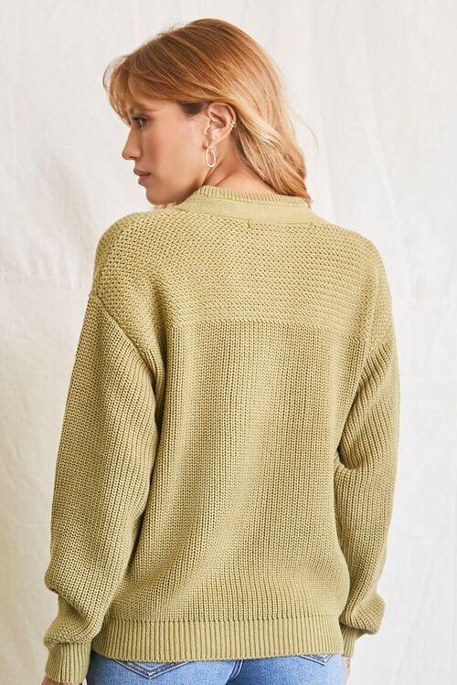 LIGHT OLIVE Purl-Yoke Buttoned Sweater, image 3