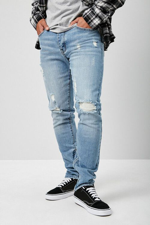 Distressed Ankle-Zip Skinny Jeans, image 1