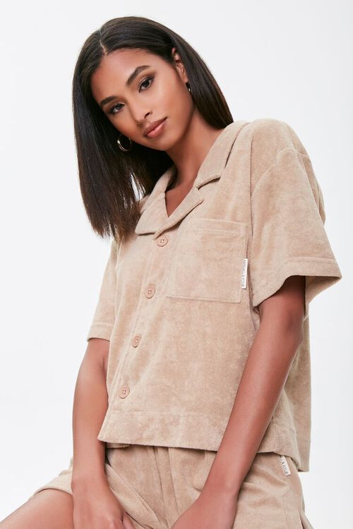 Kendall & Kylie Terrycloth Notched Shirt, image 1