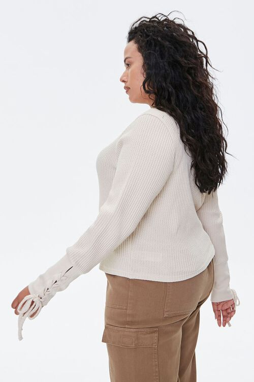Plus Size Lace-Up Waffle Knit Top, image 2