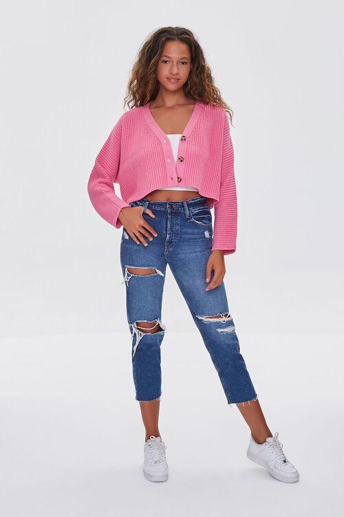PINK Ribbed Cropped Cardigan Sweater, image 4