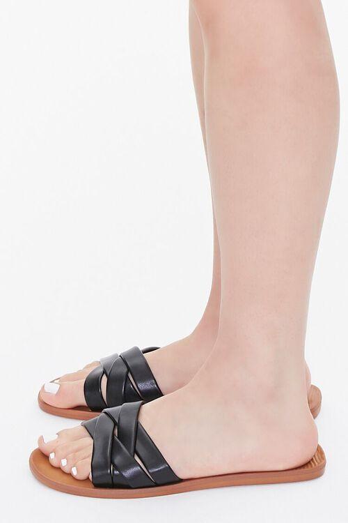 Faux Leather Crisscross Flat Sandals, image 2