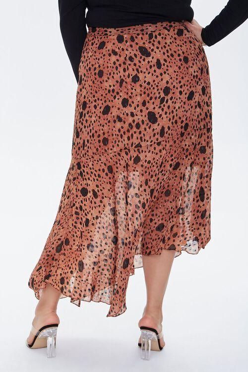 TAN/MULTI Plus Size Spotted Maxi Skirt, image 4