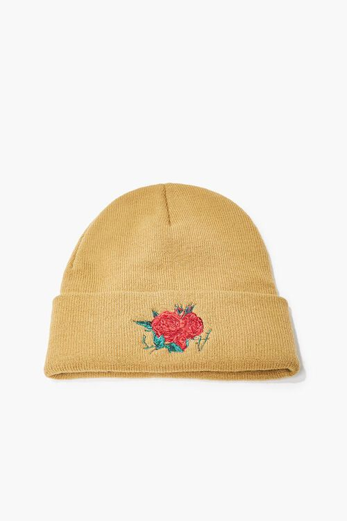 TAUPE/RED Men Rose Embroidered Graphic Beanie, image 1