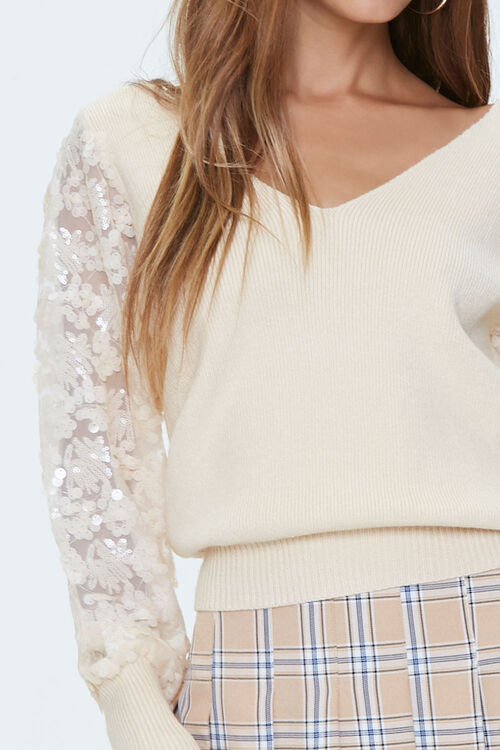 Ribbed Sequin-Sleeve Sweater, image 5