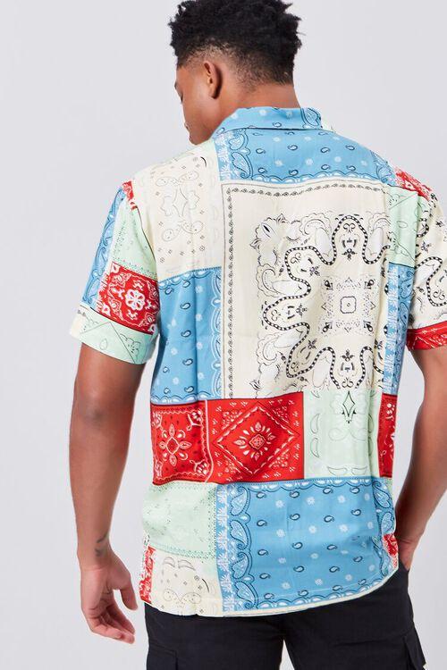 BLUE/MULTI Patchwork Bandana Print Fitted Shirt, image 3