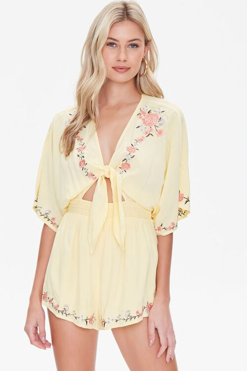Floral Embroidered Tie-Front Romper, image 1