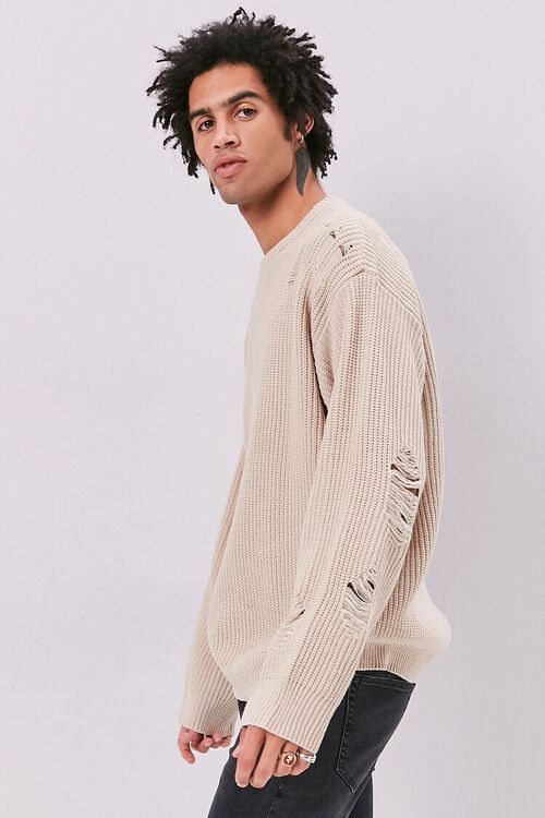 Distress Ribbed Knit Sweater, image 2