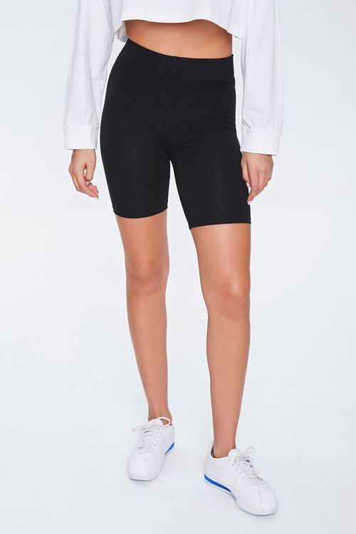 Basic Cotton-Blend Biker Shorts, image 2