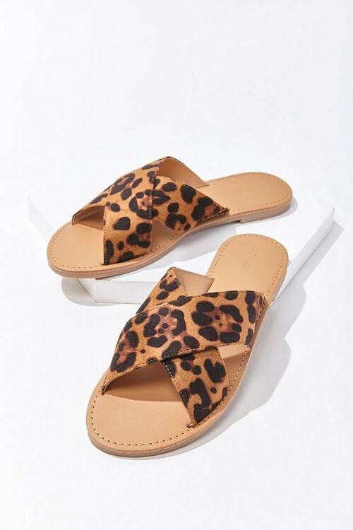 BROWN/MULTI Jaguar Print Crisscross Sandals, image 3
