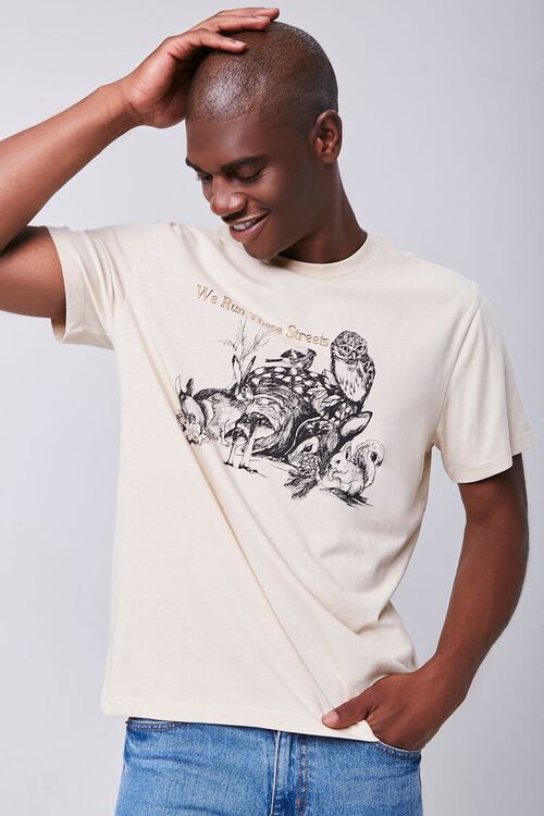TAUPE/MULTI Organically Grown Cotton Graphic Tee, image 1