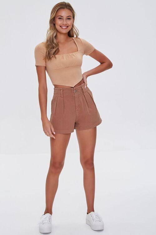 Pleated High-Waist Denim Shorts, image 5