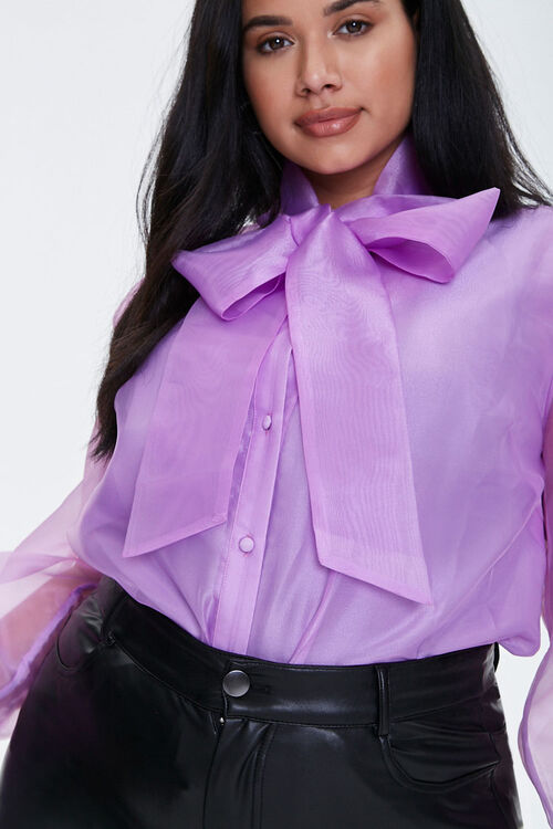 Plus Size Organza Pussycat Bow Top, image 5