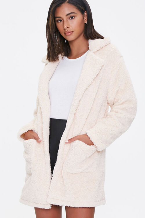 Faux Shearling Open Front Coat, image 1