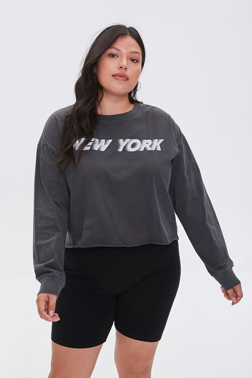 Plus Size New York Cropped Graphic Tee, image 1