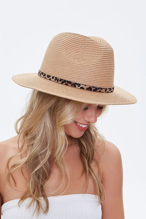 Leopard Print-Trim Faux Straw Hat, image 1