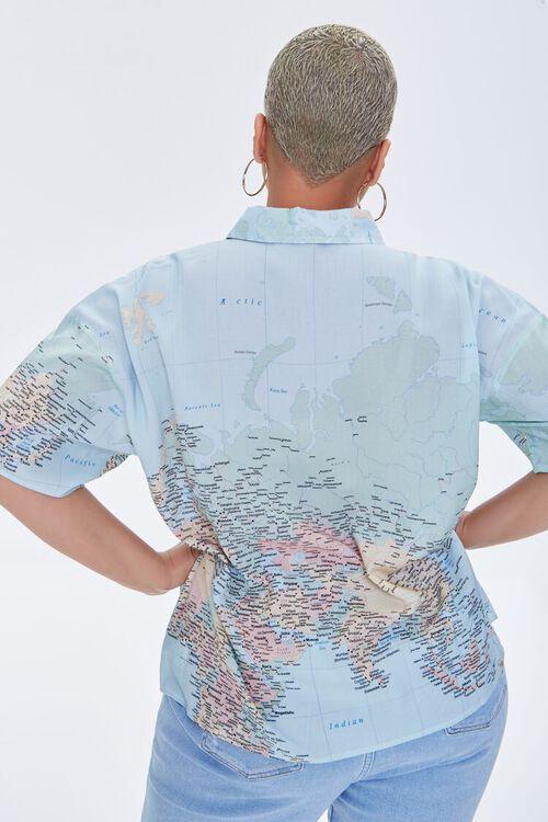 Plus Size Map Print Shirt, image 3