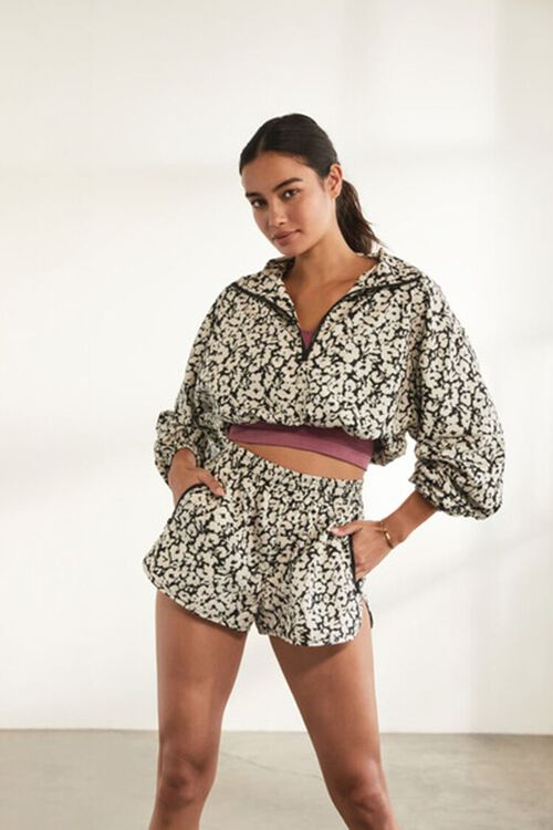 BLACK/WHITE Active Floral Cropped Anorak, image 1