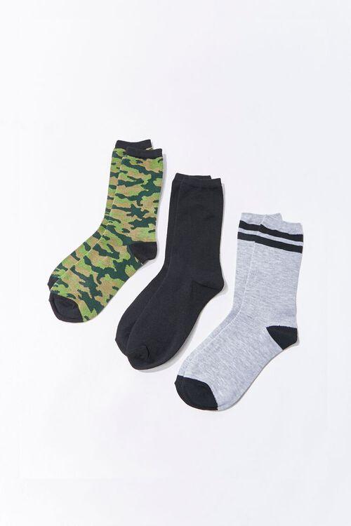 GREEN/BLACK Camo Print Crew Socks - 3 Pack, image 1
