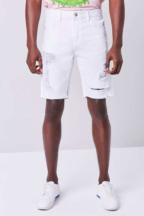WHITE Distressed Denim Shorts, image 2