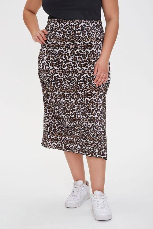 BLACK/MULTI Plus Size Leopard Midi Skirt, image 2
