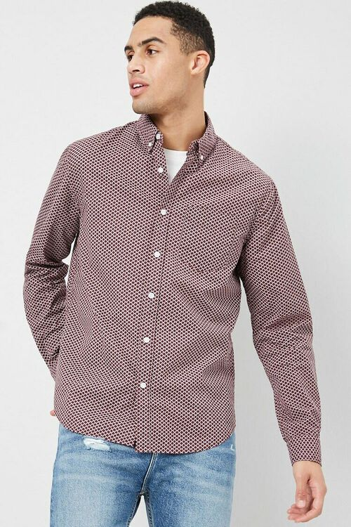 Fitted Geo Print Shirt, image 1