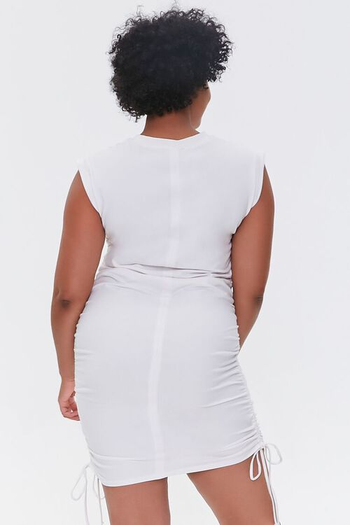 Plus Size Ruched Drawstring Mini Dress, image 3