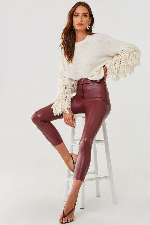 Faux Leather Ankle Pants, image 5
