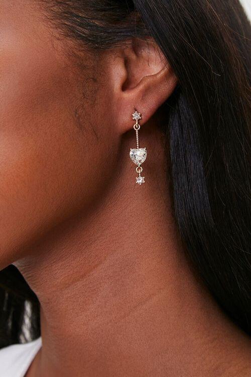 Heart & Star Charm Drop Earrings, image 1