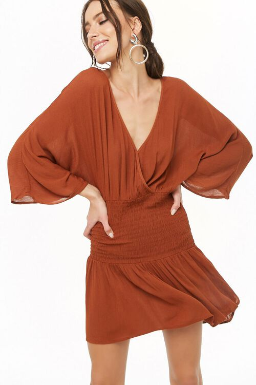 Smocked Surplice Mini Dress, image 1