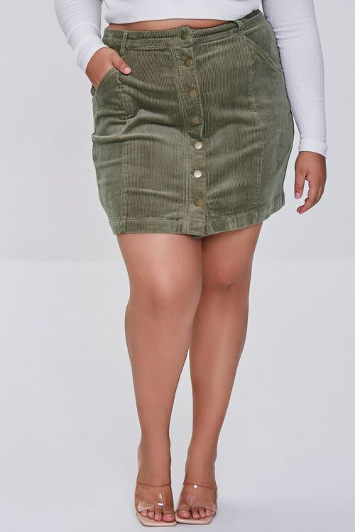 Plus Size Buttoned Corduroy Skirt, image 2