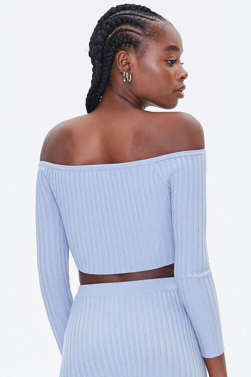 DUSTY BLUE Ribbed Off-the-Shoulder Crop Top, image 3
