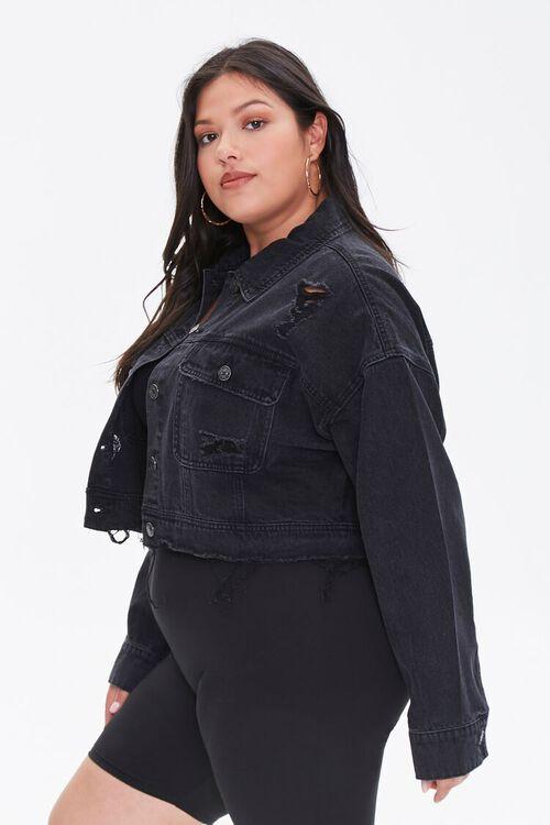 Plus Size Raw-Hem Denim Jacket, image 2