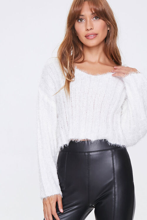 Fuzzy Knit Ribbed Sweater, image 1