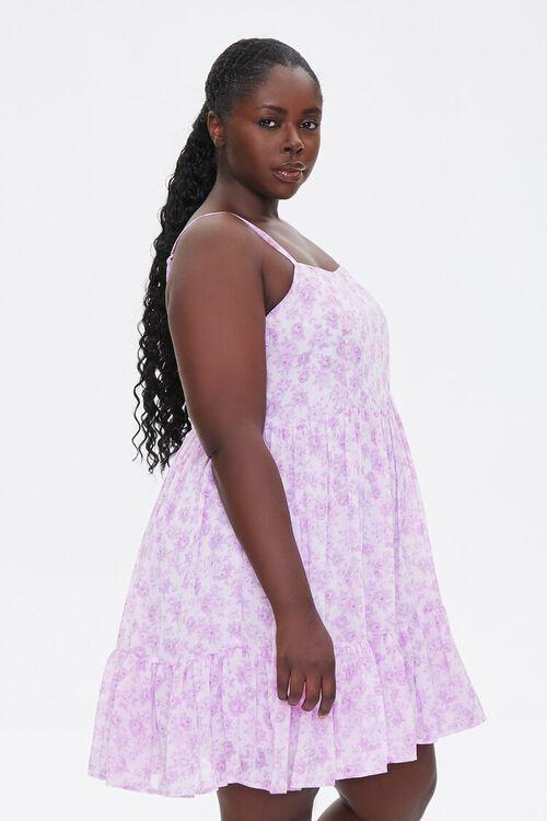 LAVENDER/MULTI Plus Size Floral Flounce-Trim Mini Dress, image 2