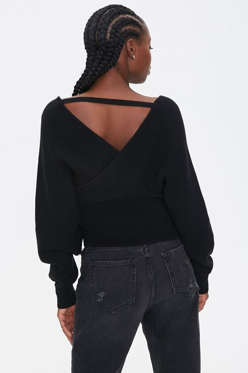 Ribbed Surplice Batwing Sweater, image 3