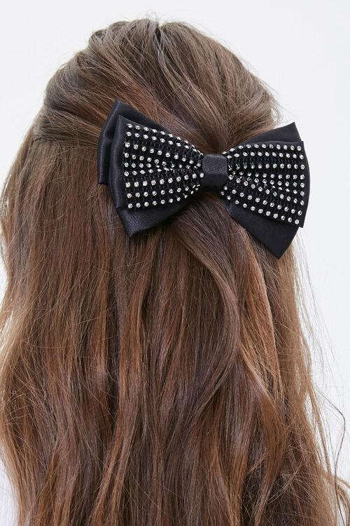 Rhinestone Hair Bow Barrette, image 1