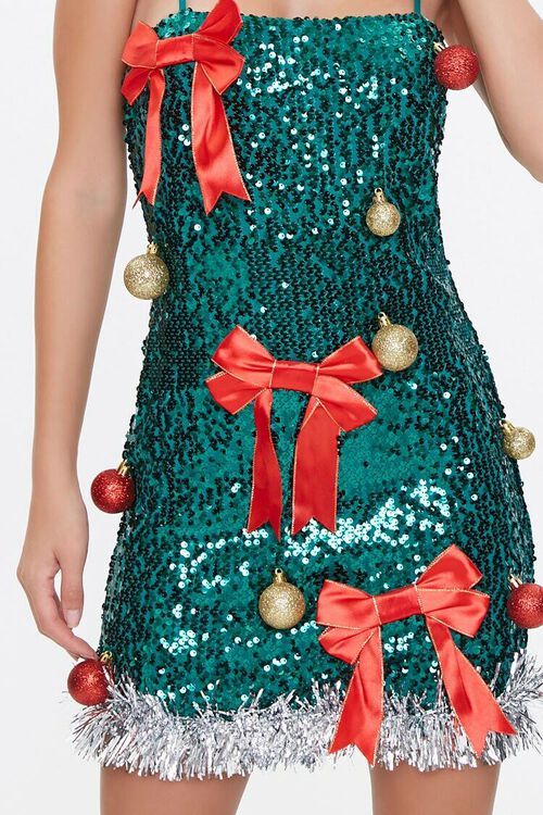 GREEN/RED Sequin Christmas Tree Dress, image 5