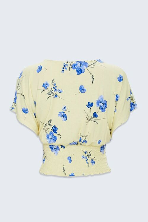 Floral Butterfly-Sleeve Crop Top, image 2